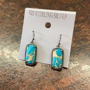 Turquoise Blue Stone Earrings Dangle 925 Silver